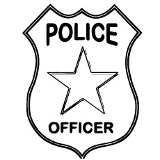 Police Officer Badge Coloring Page to Print
