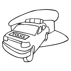 Coloring Sheet of Police Car With Hat Free