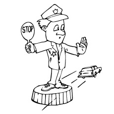 Traffic Policeman At Work Printable Coloring Page