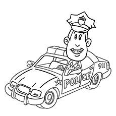 coloring page of police car police car the policeman in car - Police Car Coloring Pages