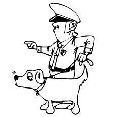Policeman With Police Dog to Color