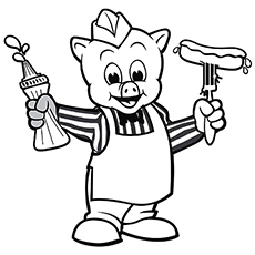 The Practical Pig Coloring Page