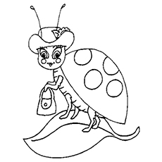 Coloring Page of Pretty Ladybug