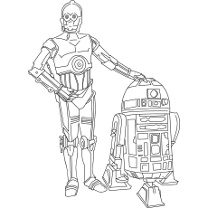 R2d2 (fictional robot character ) And C3po (humanoid robot character) Starwar Coloring Pages
