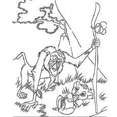 Rafiki looking After the Cub Coloring Pages