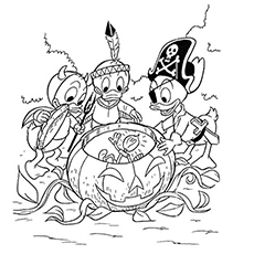 Ducks are Ready for Halloween Coloring Page