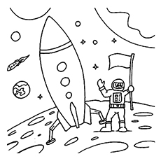 astronaut ready to travel in rocket to space coloring page