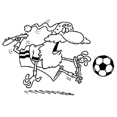 free printable santa playing soccer coloring pages - Soccer Coloring Pages