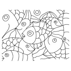 Abstract Design of Shoal of Fishes Coloring Pages