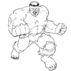 Hulk Showing His Muscles Angry In Rage Coloring Page