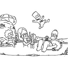 Simpsons Having Fun On Beach Coloring Pages