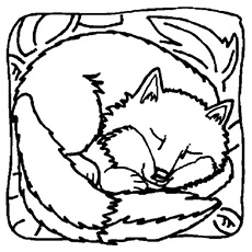 the sleeping fox - Fox Coloring Pages