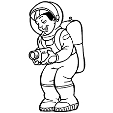 Smiling Astronaut Recording with a Camera Coloring Page