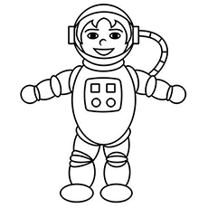 smiling astronaut dressed in uniform coloring page