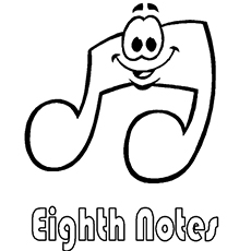 the smiling eighth note - Music Notes Coloring Pages