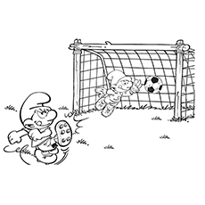 Smurfs Playing Soccer with Friends Coloring Page to Print