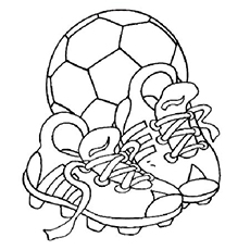 free printable soccer shoes and soccer ball coloring pages
