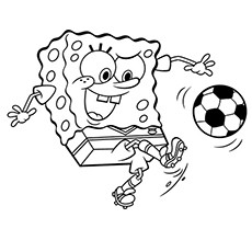 Spongebob Squarepants Playing Soccer Coloring Sheet to Print