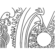 Abstract of Sun and the Sea Coloring Page