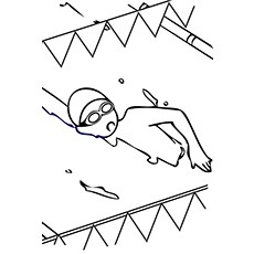 Swimming Coloring Page Free
