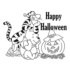 Tigger Winnie The Pooh And Halloween Pumpkin Coloring Sheet