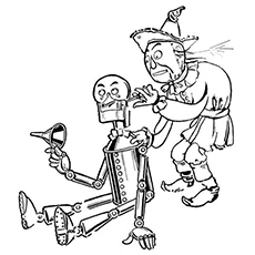 scarecrow of wizard of oz coloring page of tinman needs to be refueled