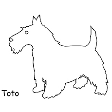 The Toto is Dog from Wizard of OZ Worksheet to Color