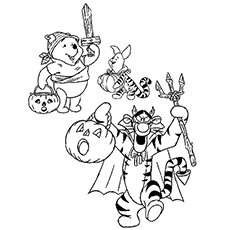 Trigger Piglet and Pooh Holding Halloween Pumpkin In Hand Coloring Page