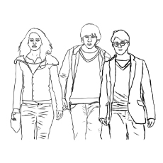 harry potter trio friends voldemort coloring page - Harry Potter Coloring Pages