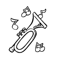the trumpets playing - Music Notes Coloring Pages