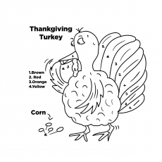 The Turkey With Coloring Instructions
