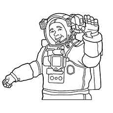 Astronaut Waving his Hands Coloring Page