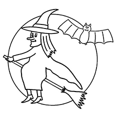 Witch Flying On Magic Broom Stick And Bat Coloring Sheet Picture