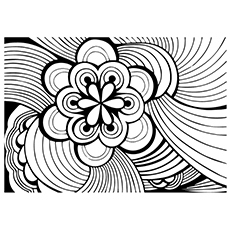 beautiful design of flower abstract - Abstract Coloring Pages