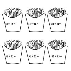 Add up French Fries Coloring Sheet