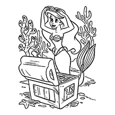 Free Printable Mermaid Putting a Crown Coloring Pages