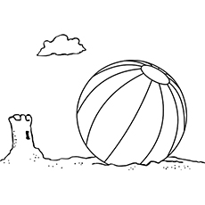 the beach ball and sand castle