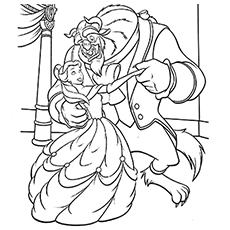 A Beast Coloring The Belle And Dancing