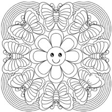 rainbow butterfly abstract optical illusions coloring pages - Printable Abstract Coloring Pages