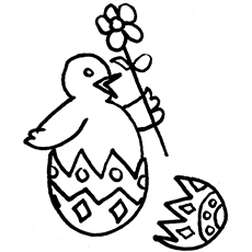 Coloring Sheet of Chick with Flower