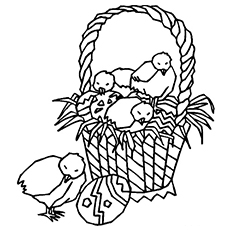 Coloring Page of Chicks on Easter