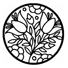 Circle with Flowers Pattern Coloring Page to Print
