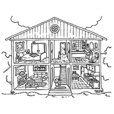 the color the household - House Coloring Pages