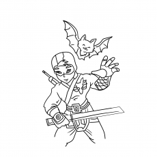 the cute ninja boy with funky costume - Ninja Coloring Page
