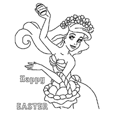 Easter Ariel Coloring Page To Print Disney Goofy With Eggs Picture Color