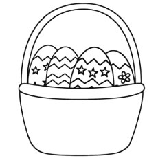 Eggs in Easter Basket to Color