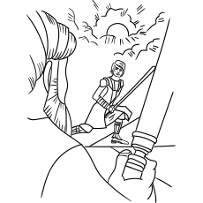 Fight Between Obi Wan Padawan Anakin Star Wars Coloring Sheet