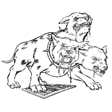Coloring Sheet of Fluffy Three Headed Dog in Harry Potter