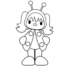 Girl In Ladybug Outfit Coloring Pages