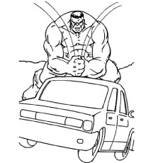 Hulk Crushing the Car in Anger Coloring page